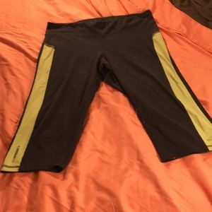 Pants - Gray and lime green workout capris